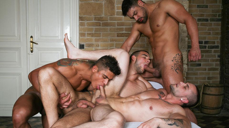 Gay bareback orgy clips