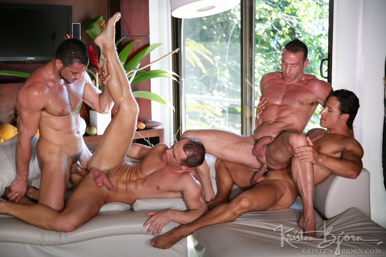 Six hot men orgy