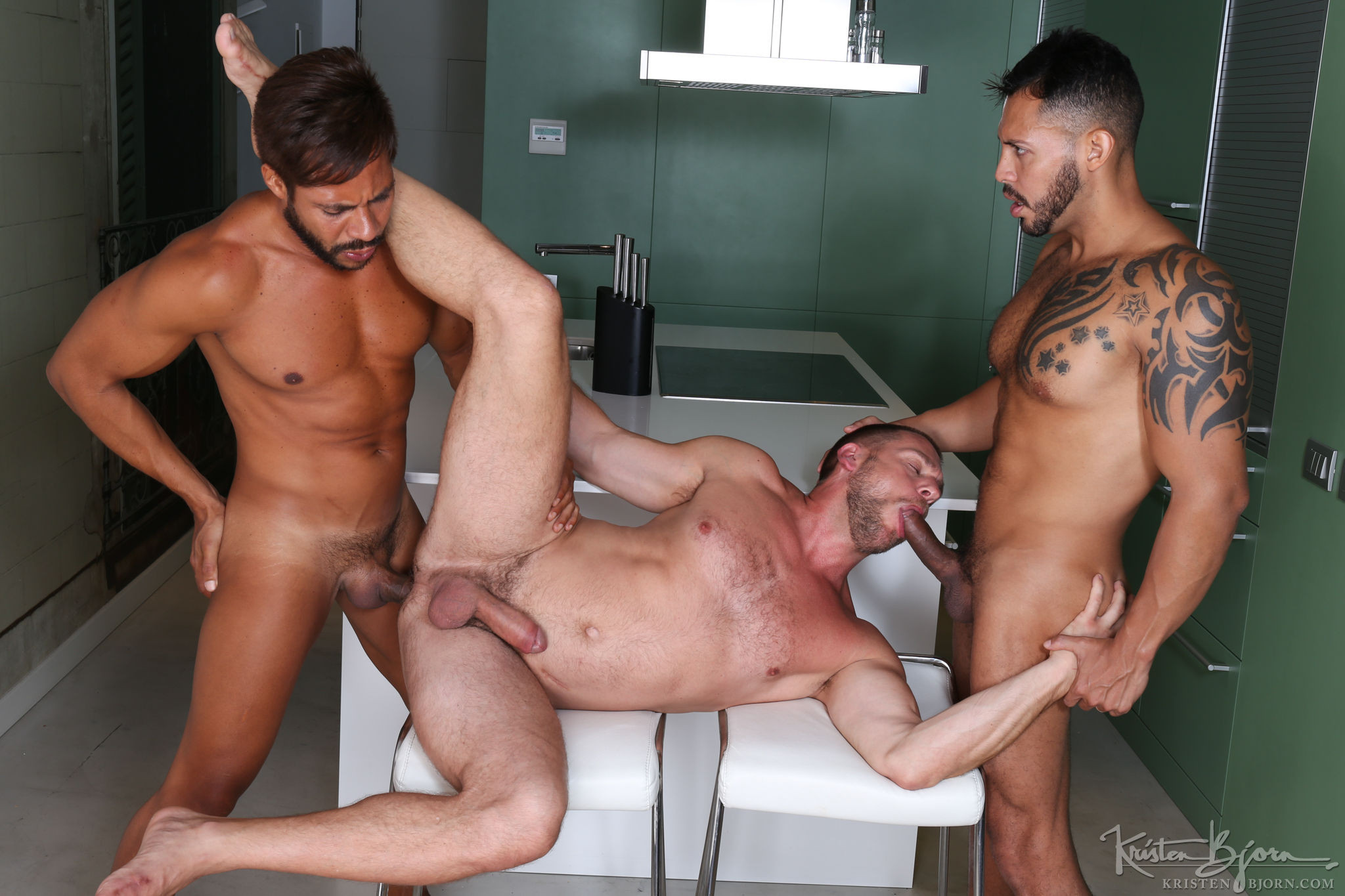 Monster cock gay threesome